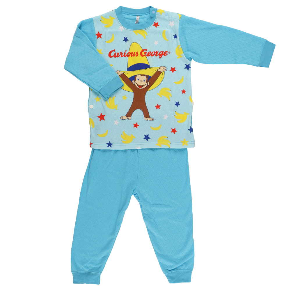 おさるのジョージ ニットキルトパジャマ ブルー90cm